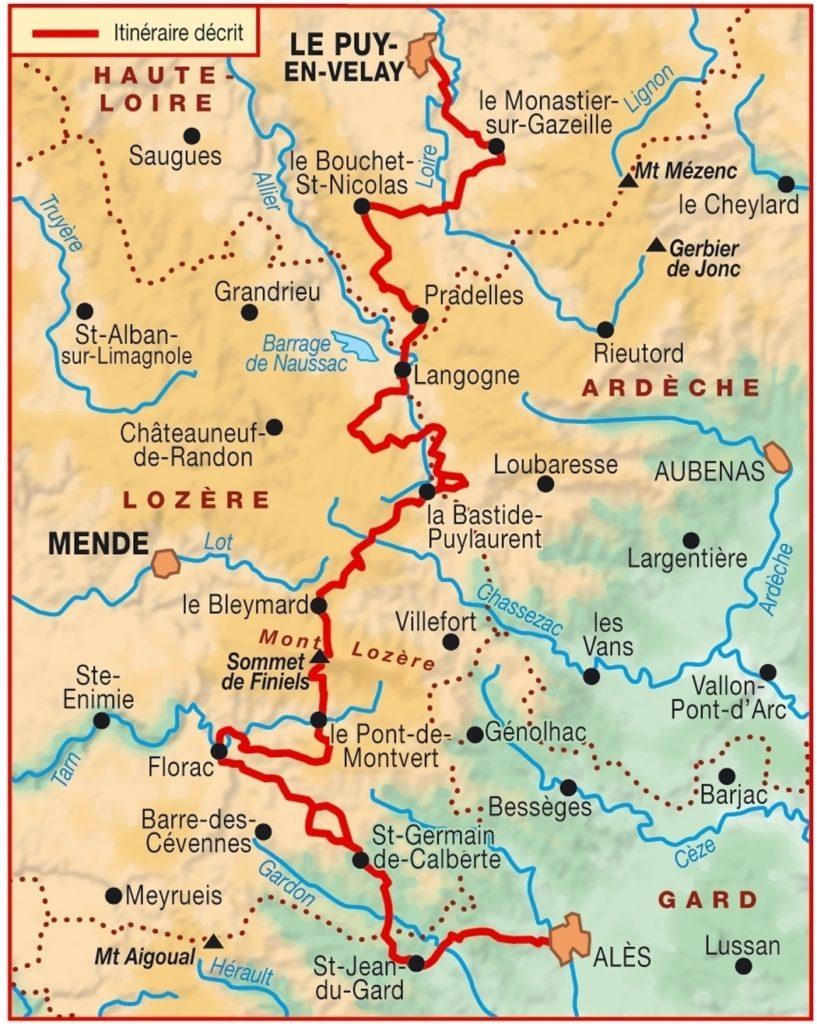 carte des chemins de stevenson